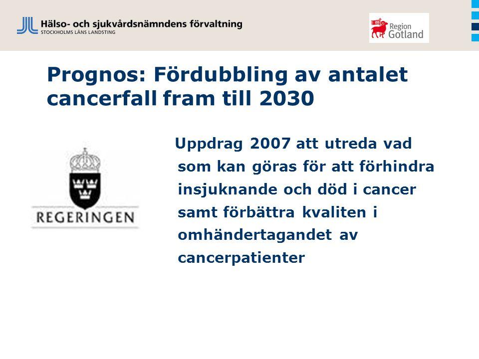 Prognos: Fördubbling av antalet cancerfall fram till 2030 Uppdrag 2007 att utreda vad som kan göras för att förhindra insjuknande och död i cancer samt förbättra kvaliten i omhändertagandet av cancerpatienter
