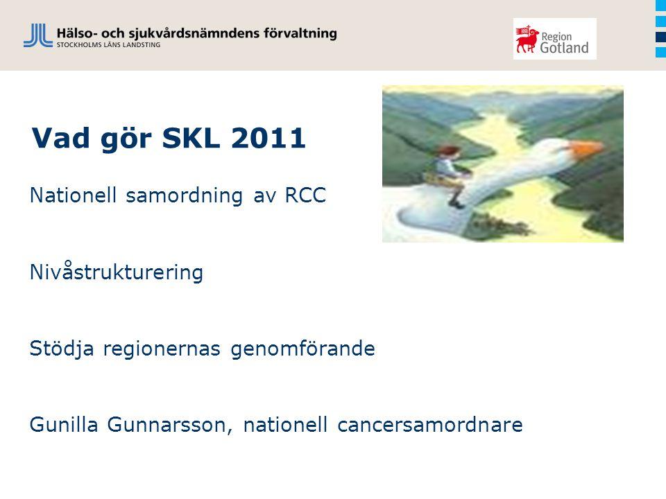 Vad gör SKL 2011 Nationell samordning av RCC Nivåstrukturering Stödja regionernas genomförande Gunilla Gunnarsson, nationell cancersamordnare