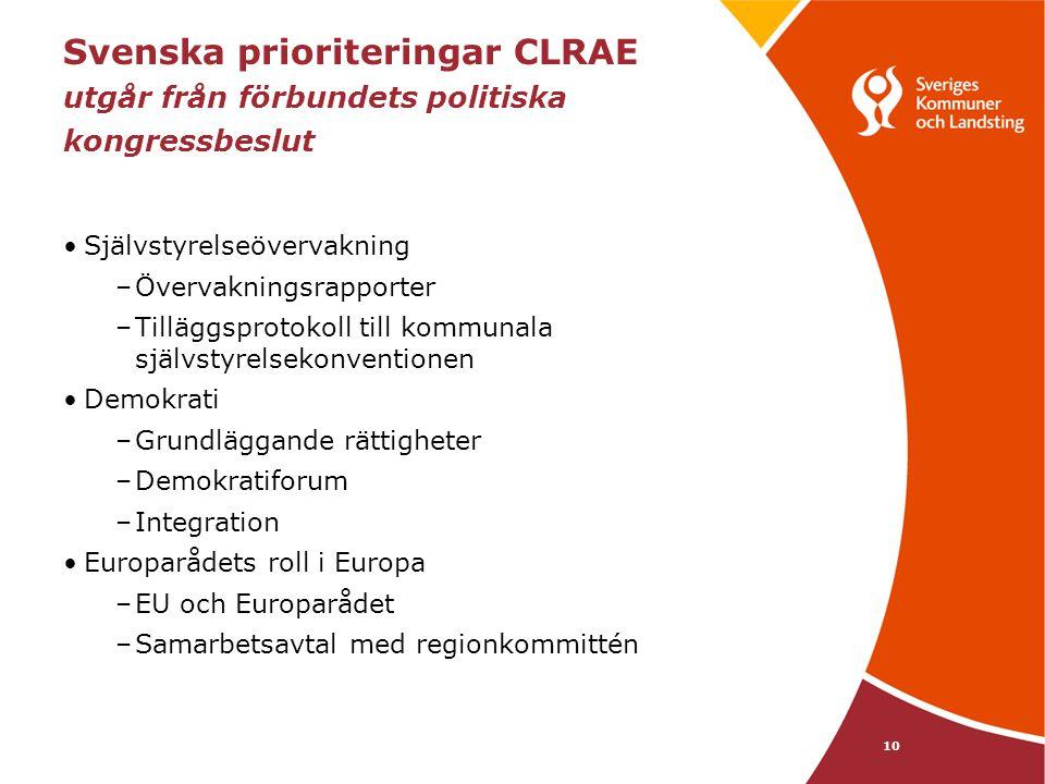 10 Svenska prioriteringar CLRAE utgår från förbundets politiska kongressbeslut Självstyrelseövervakning –Övervakningsrapporter –Tilläggsprotokoll till kommunala självstyrelsekonventionen Demokrati –Grundläggande rättigheter –Demokratiforum –Integration Europarådets roll i Europa –EU och Europarådet –Samarbetsavtal med regionkommittén