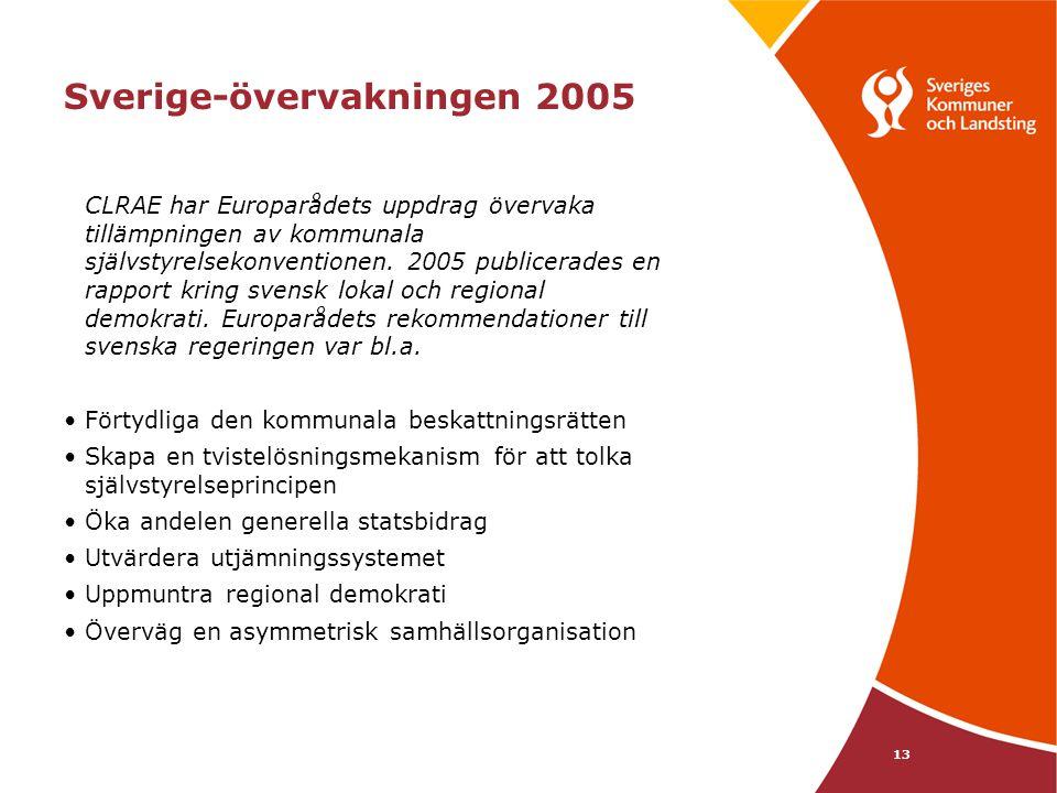 13 Sverige-övervakningen 2005 CLRAE har Europarådets uppdrag övervaka tillämpningen av kommunala självstyrelsekonventionen. 2005 publicerades en rappo