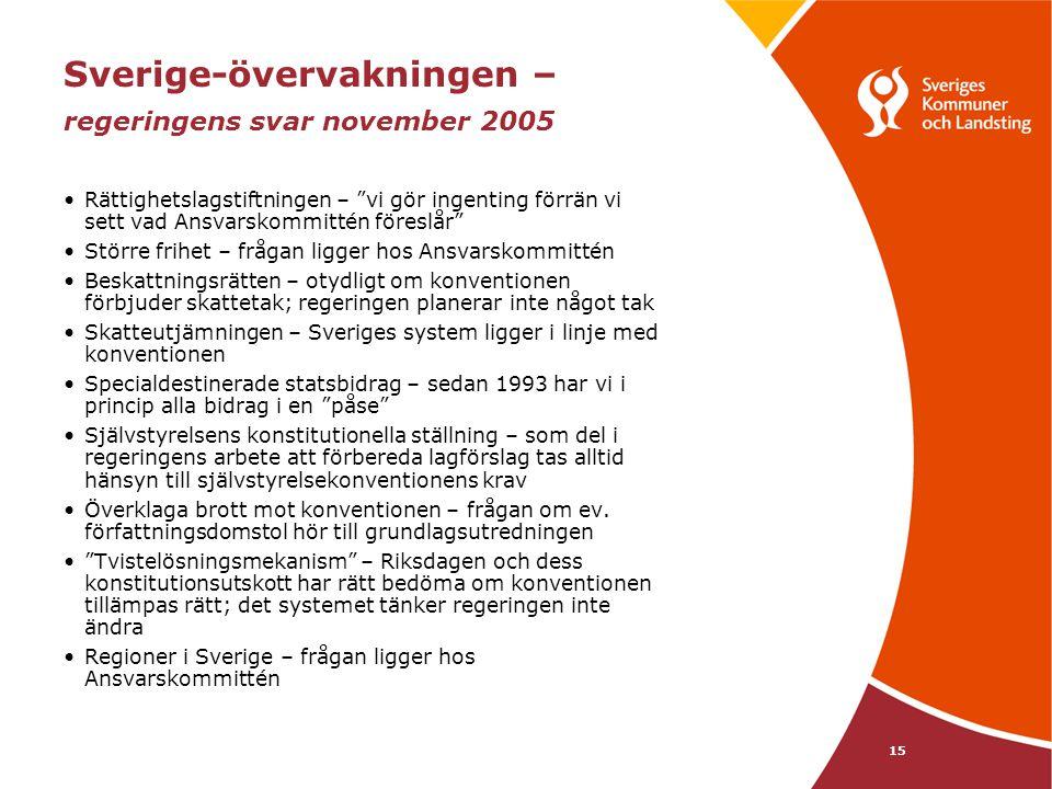 """15 Sverige-övervakningen – regeringens svar november 2005 Rättighetslagstiftningen – """"vi gör ingenting förrän vi sett vad Ansvarskommittén föreslår"""" S"""