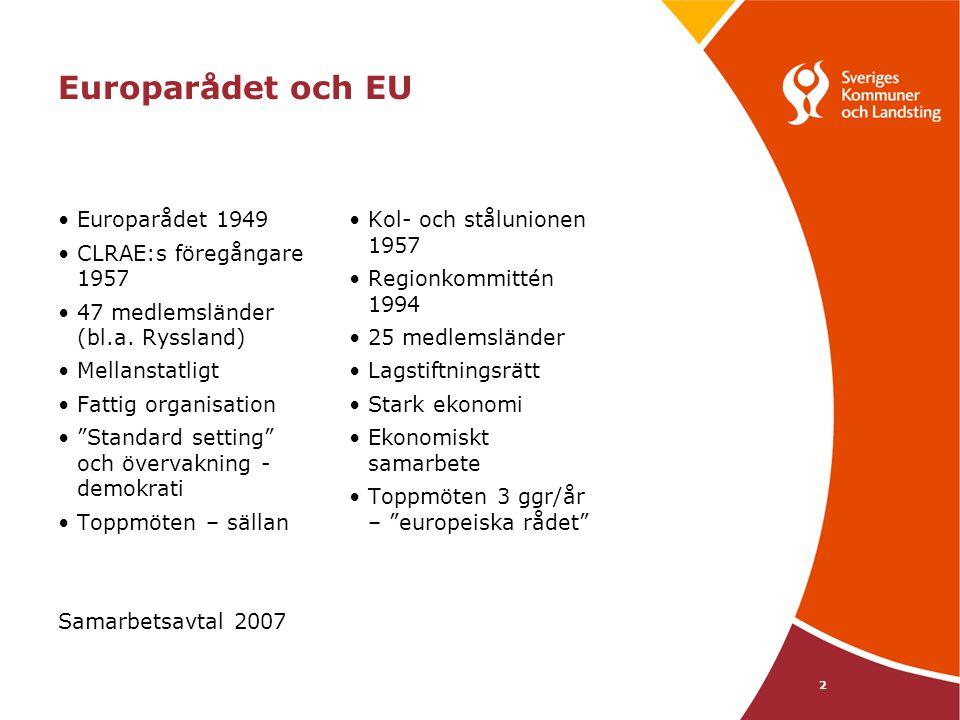 """2 Europarådet och EU Europarådet 1949 CLRAE:s föregångare 1957 47 medlemsländer (bl.a. Ryssland) Mellanstatligt Fattig organisation """"Standard setting"""""""