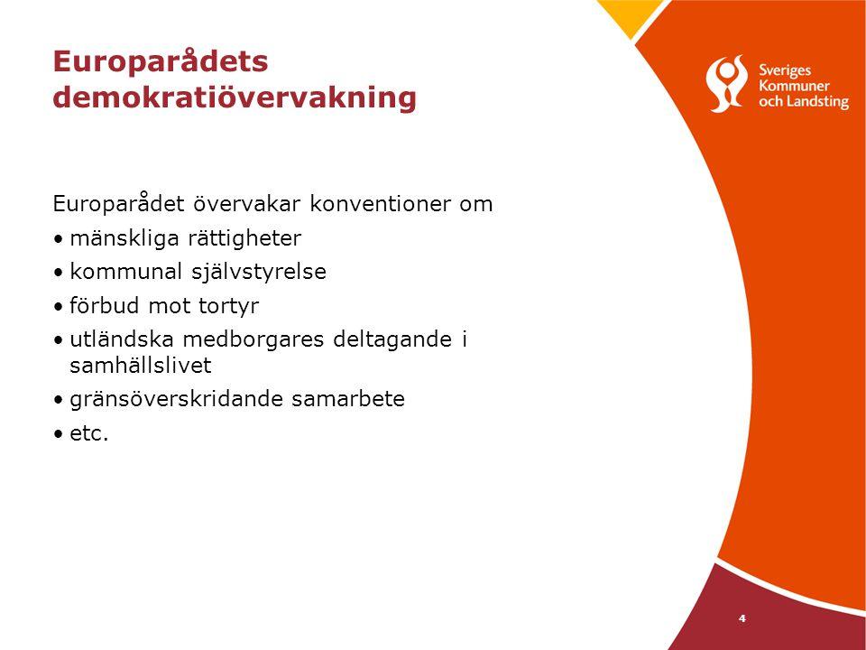 15 Sverige-övervakningen – regeringens svar november 2005 Rättighetslagstiftningen – vi gör ingenting förrän vi sett vad Ansvarskommittén föreslår Större frihet – frågan ligger hos Ansvarskommittén Beskattningsrätten – otydligt om konventionen förbjuder skattetak; regeringen planerar inte något tak Skatteutjämningen – Sveriges system ligger i linje med konventionen Specialdestinerade statsbidrag – sedan 1993 har vi i princip alla bidrag i en påse Självstyrelsens konstitutionella ställning – som del i regeringens arbete att förbereda lagförslag tas alltid hänsyn till självstyrelsekonventionens krav Överklaga brott mot konventionen – frågan om ev.