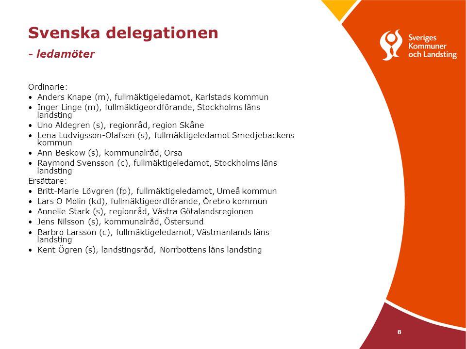 8 Svenska delegationen - ledamöter Ordinarie: Anders Knape (m), fullmäktigeledamot, Karlstads kommun Inger Linge (m), fullmäktigeordförande, Stockholms läns landsting Uno Aldegren (s), regionråd, region Skåne Lena Ludvigsson-Olafsen (s), fullmäktigeledamot Smedjebackens kommun Ann Beskow (s), kommunalråd, Orsa Raymond Svensson (c), fullmäktigeledamot, Stockholms läns landsting Ersättare: Britt-Marie Lövgren (fp), fullmäktigeledamot, Umeå kommun Lars O Molin (kd), fullmäktigeordförande, Örebro kommun Annelie Stark (s), regionråd, Västra Götalandsregionen Jens Nilsson (s), kommunalråd, Östersund Barbro Larsson (c), fullmäktigeledamot, Västmanlands läns landsting Kent Ögren (s), landstingsråd, Norrbottens läns landsting