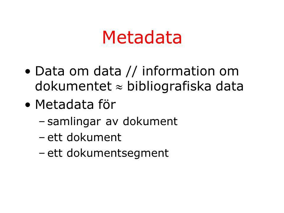 Metadata Data om data // information om dokumentet  bibliografiska data Metadata för –samlingar av dokument –ett dokument –ett dokumentsegment