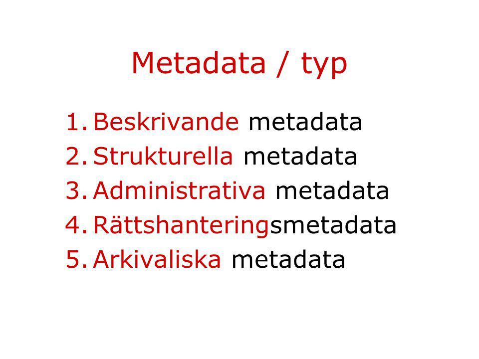 Metadata / funktion Dokumentation Bibliografisk kontroll: –Identifiering och (fr.a.