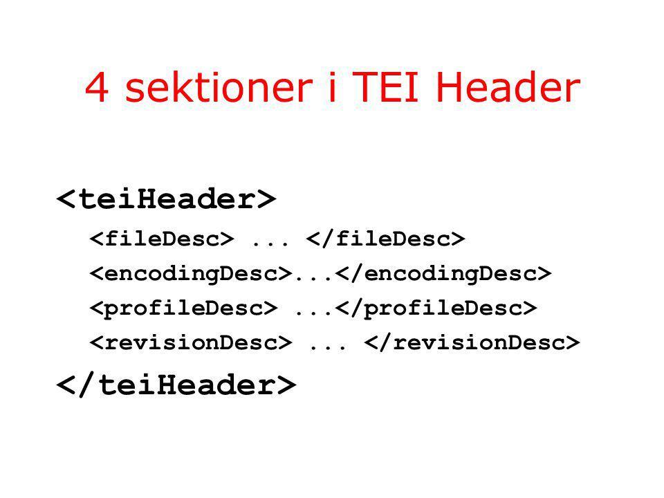 4 sektioner i TEI Header...