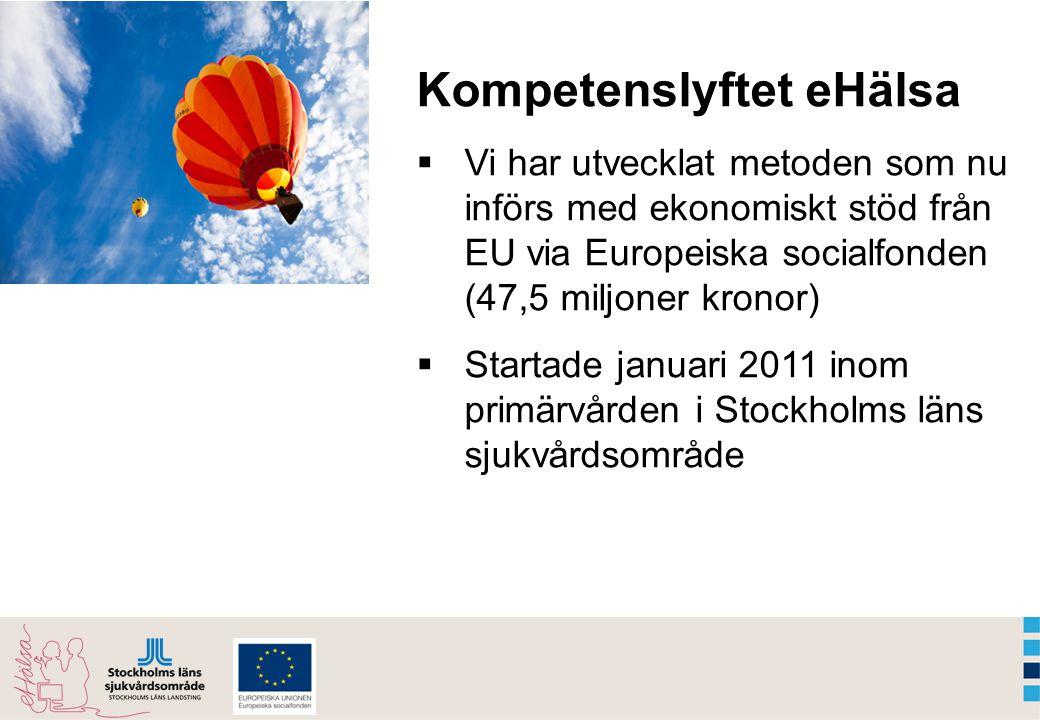 Kompetenslyftet eHälsa  Vi har utvecklat metoden som nu införs med ekonomiskt stöd från EU via Europeiska socialfonden (47,5 miljoner kronor)  Startade januari 2011 inom primärvården i Stockholms läns sjukvårdsområde