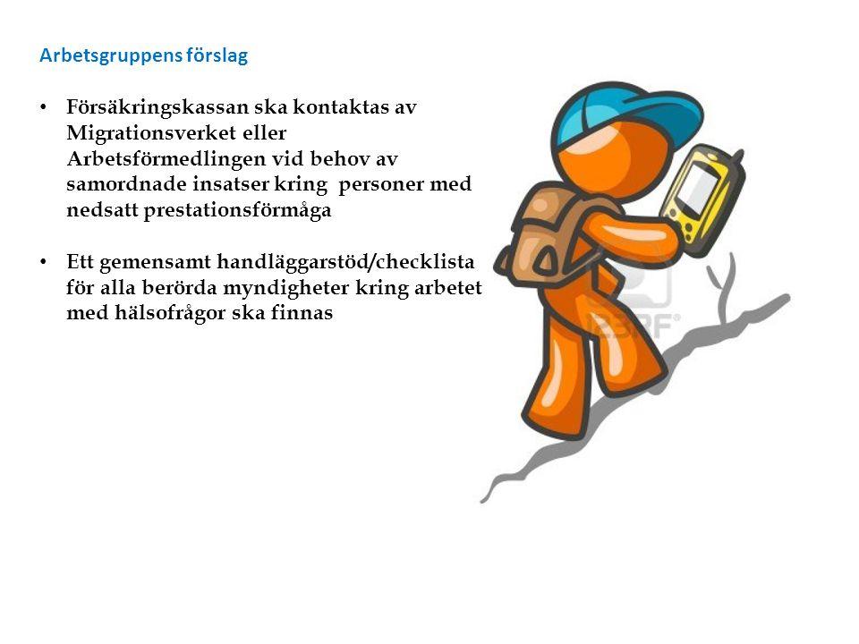 Arbetsgruppens förslag Försäkringskassan ska kontaktas av Migrationsverket eller Arbetsförmedlingen vid behov av samordnade insatser kring personer me