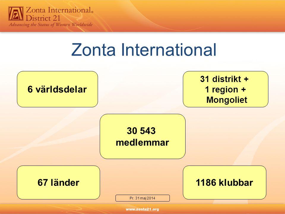 Zonta International 30 543 medlemmar 1186 klubbar67 länder 31 distrikt + 1 region + Mongoliet 6 världsdelar Pr.