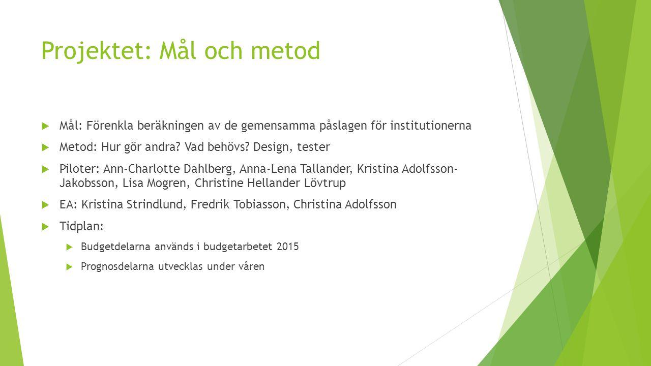 Projektet: Mål och metod  Mål: Förenkla beräkningen av de gemensamma påslagen för institutionerna  Metod: Hur gör andra? Vad behövs? Design, tester