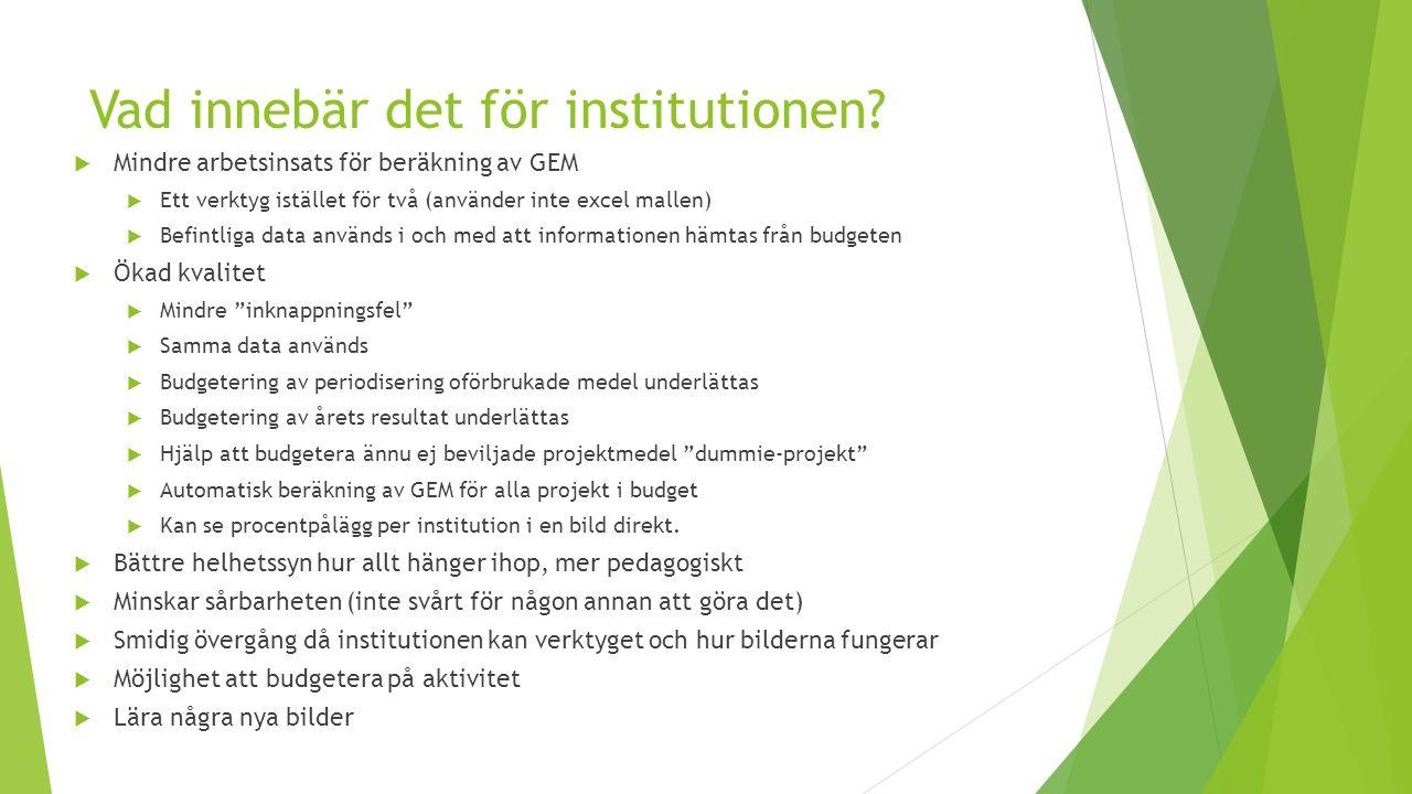 Vad innebär det för institutionen?  Mindre arbetsinsats för beräkning av GEM  Ett verktyg istället för två (använder inte excel mallen)  Befintliga
