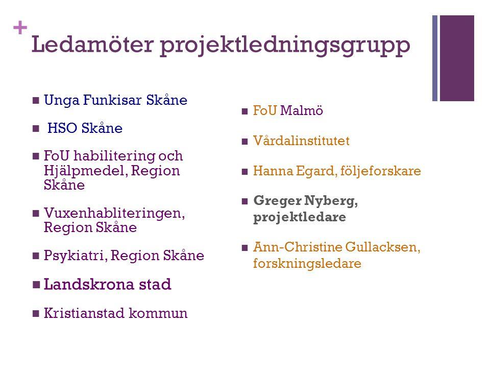 + Ledamöter projektledningsgrupp Unga Funkisar Skåne HSO Skåne FoU habilitering och Hjälpmedel, Region Skåne Vuxenhabliteringen, Region Skåne Psykiatr