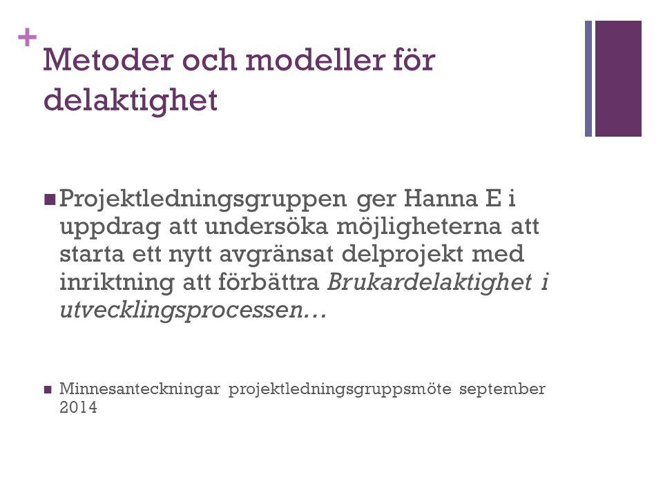 + Metoder och modeller för delaktighet Projektledningsgruppen ger Hanna E i uppdrag att undersöka möjligheterna att starta ett nytt avgränsat delproje