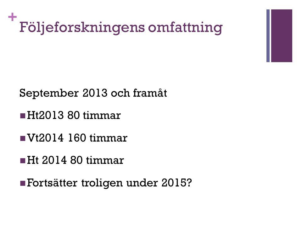 + Följeforskningens omfattning September 2013 och framåt Ht2013 80 timmar Vt2014 160 timmar Ht 2014 80 timmar Fortsätter troligen under 2015?