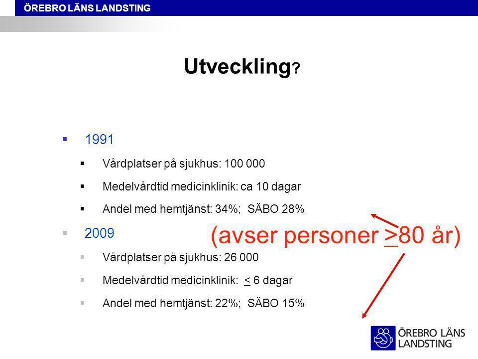 ÖREBRO LÄNS LANDSTING Särskilt boende Hemtjänst, dagvård Samhällskostnader för demenssjukdomarna i Sverige 2005: 50 miljarder SEK Modifierad från Socialstyrelsen – Demenssjukdomarnas samhällskostnader och antalet dementa i Sverige 2005, A Wimo et al.