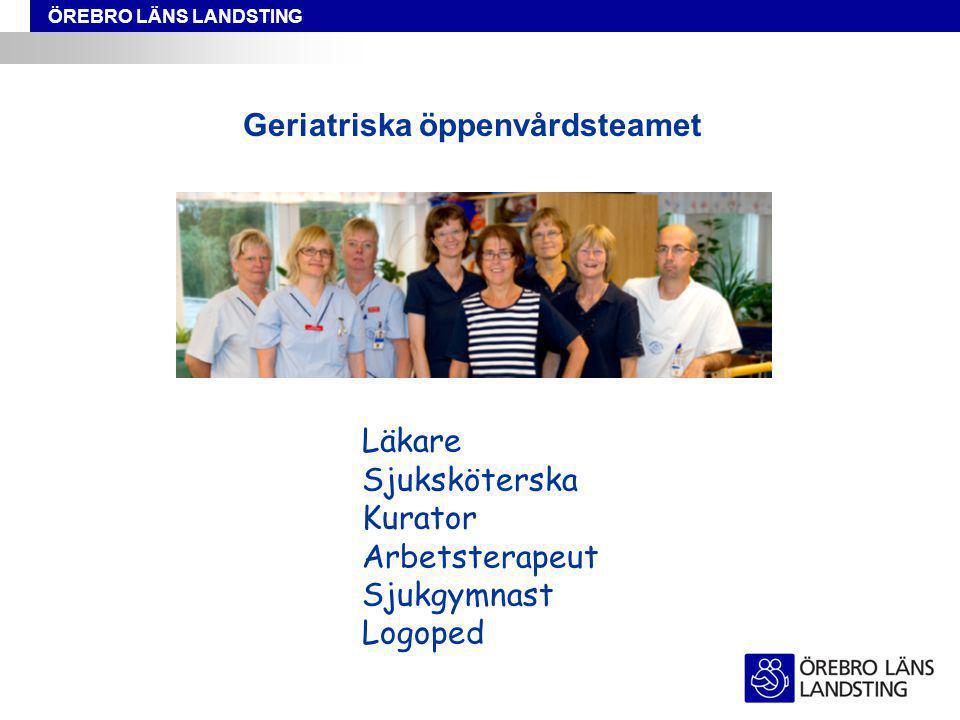 ÖREBRO LÄNS LANDSTING Geriatriska öppenvårdsteamet Läkare Sjuksköterska Kurator Arbetsterapeut Sjukgymnast Logoped