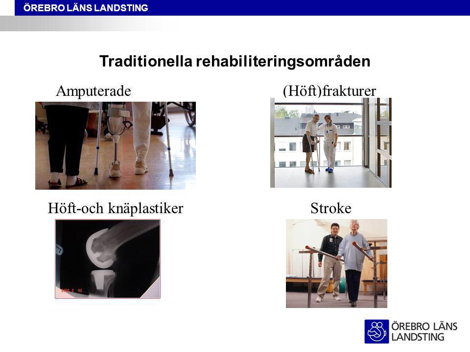 ÖREBRO LÄNS LANDSTING Traditionella rehabiliteringsområden Amputerade(Höft)frakturer Höft-och knäplastikerStroke