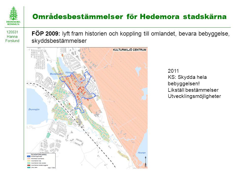 Områdesbestämmelser för Hedemora stadskärna 120531 Hanna Forslund FÖP 2009: lyft fram historien och koppling till omlandet, bevara bebyggelse, skyddsb
