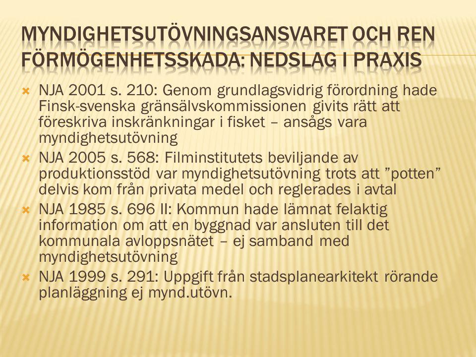  NJA 2001 s. 210: Genom grundlagsvidrig förordning hade Finsk-svenska gränsälvskommissionen givits rätt att föreskriva inskränkningar i fisket – anså