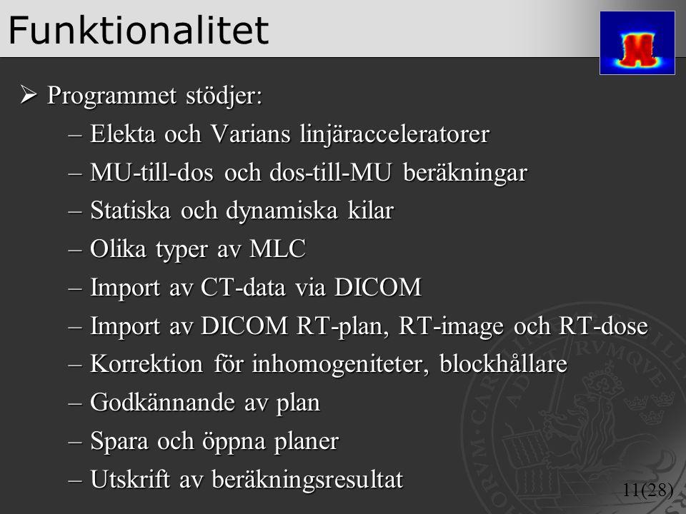 11(28) Funktionalitet  Programmet stödjer: –Elekta och Varians linjäracceleratorer –MU-till-dos och dos-till-MU beräkningar –Statiska och dynamiska k