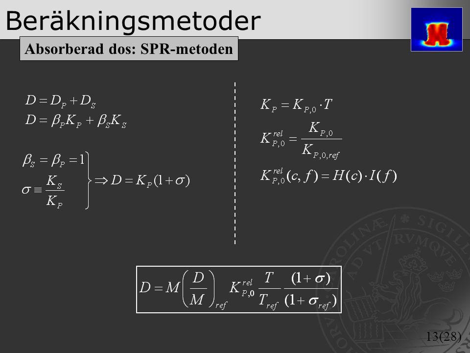 13(28) Beräkningsmetoder Absorberad dos: SPR-metoden