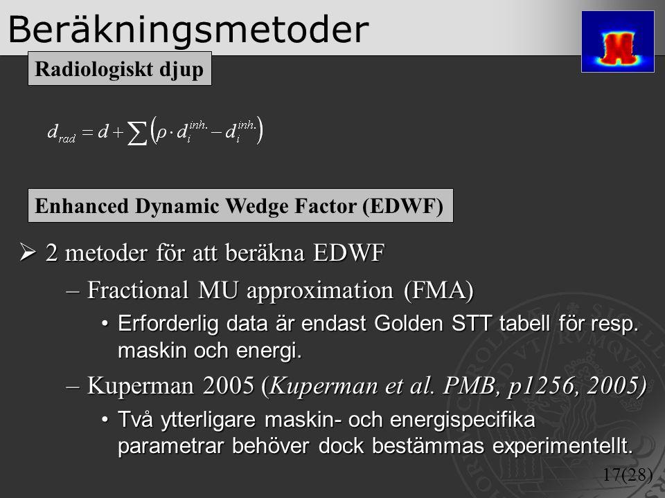 17(28) Beräkningsmetoder Radiologiskt djup Enhanced Dynamic Wedge Factor (EDWF)  2 metoder för att beräkna EDWF –Fractional MU approximation (FMA) Er