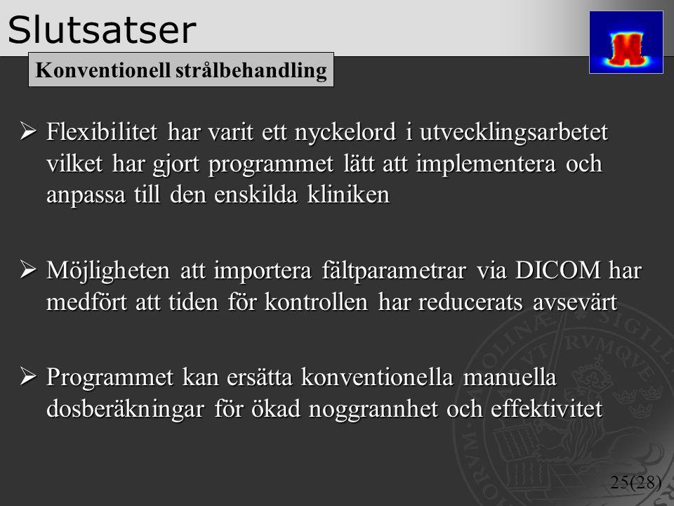 25(28) Slutsatser  Flexibilitet har varit ett nyckelord i utvecklingsarbetet vilket har gjort programmet lätt att implementera och anpassa till den e