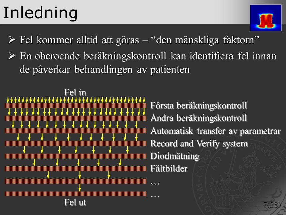 """7(28) Inledning  Fel kommer alltid att göras – """"den mänskliga faktorn""""  En oberoende beräkningskontroll kan identifiera fel innan de påverkar behand"""