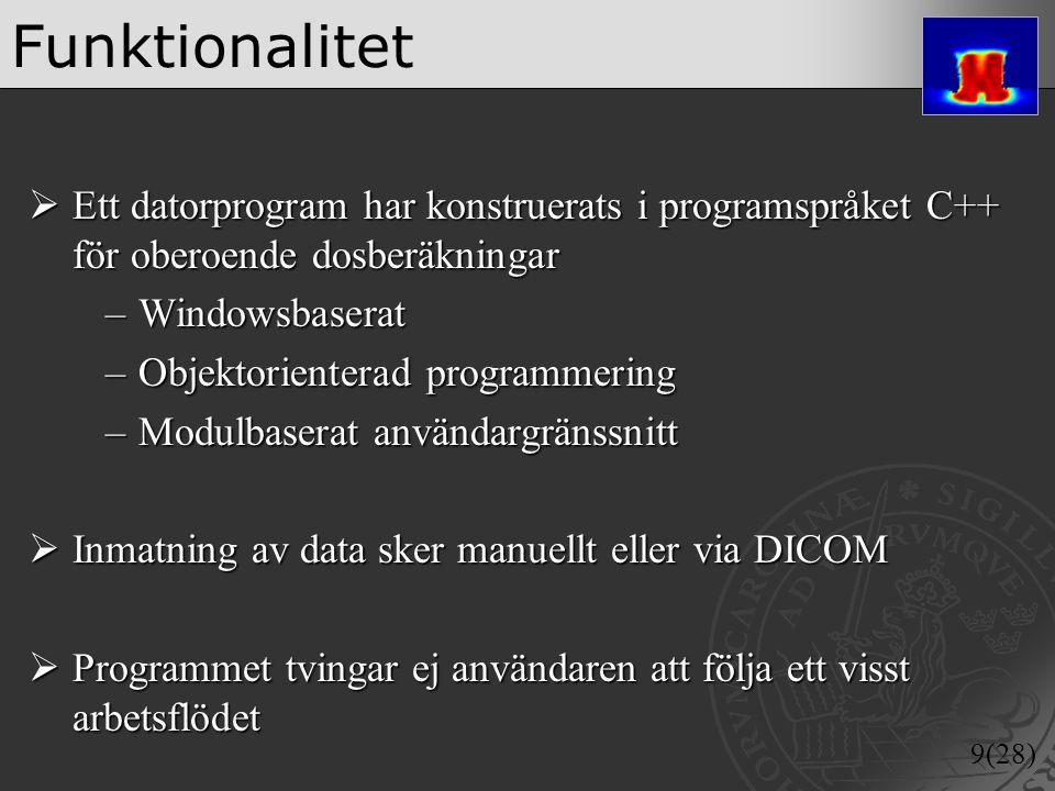 9(28) Funktionalitet  Ett datorprogram har konstruerats i programspråket C++ för oberoende dosberäkningar –Windowsbaserat –Objektorienterad programme