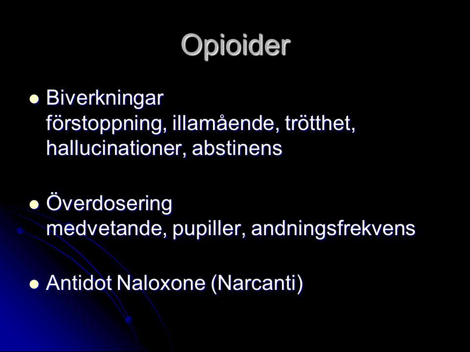 Opioider Biverkningar förstoppning, illamående, trötthet, hallucinationer, abstinens Biverkningar förstoppning, illamående, trötthet, hallucinationer,