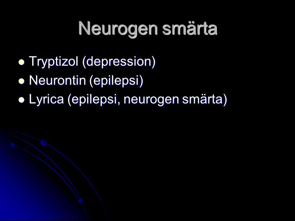 Neurogen smärta Tryptizol (depression) Tryptizol (depression) Neurontin (epilepsi) Neurontin (epilepsi) Lyrica (epilepsi, neurogen smärta) Lyrica (epi