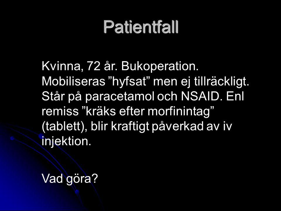 """Patientfall Kvinna, 72 år. Bukoperation. Mobiliseras """"hyfsat"""" men ej tillräckligt. Står på paracetamol och NSAID. Enl remiss """"kräks efter morfinintag"""""""