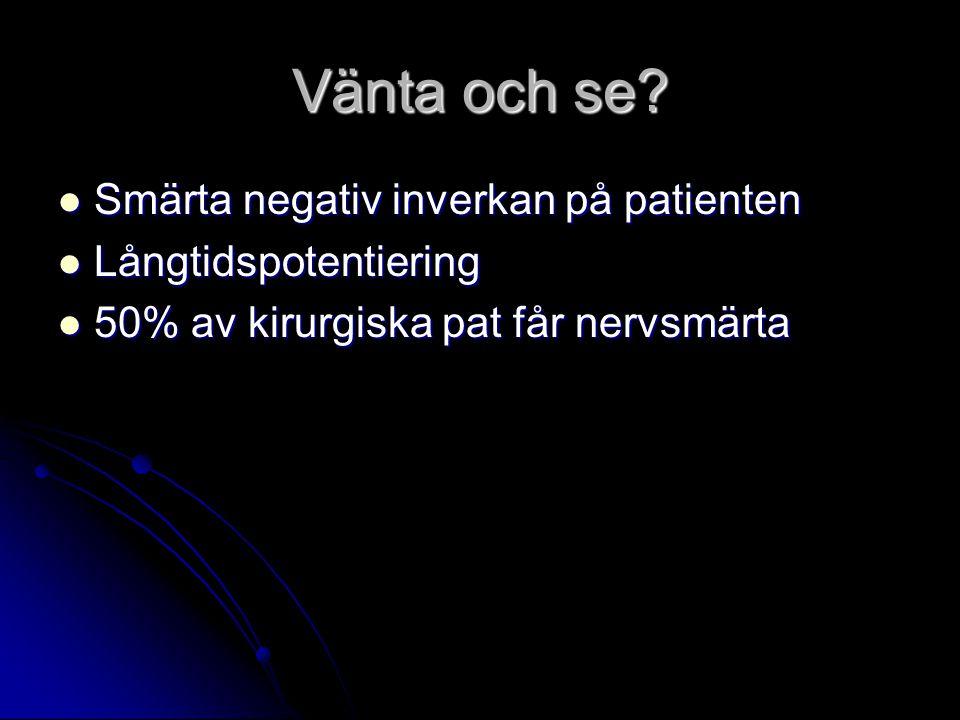 Vänta och se? Smärta negativ inverkan på patienten Smärta negativ inverkan på patienten Långtidspotentiering Långtidspotentiering 50% av kirurgiska pa