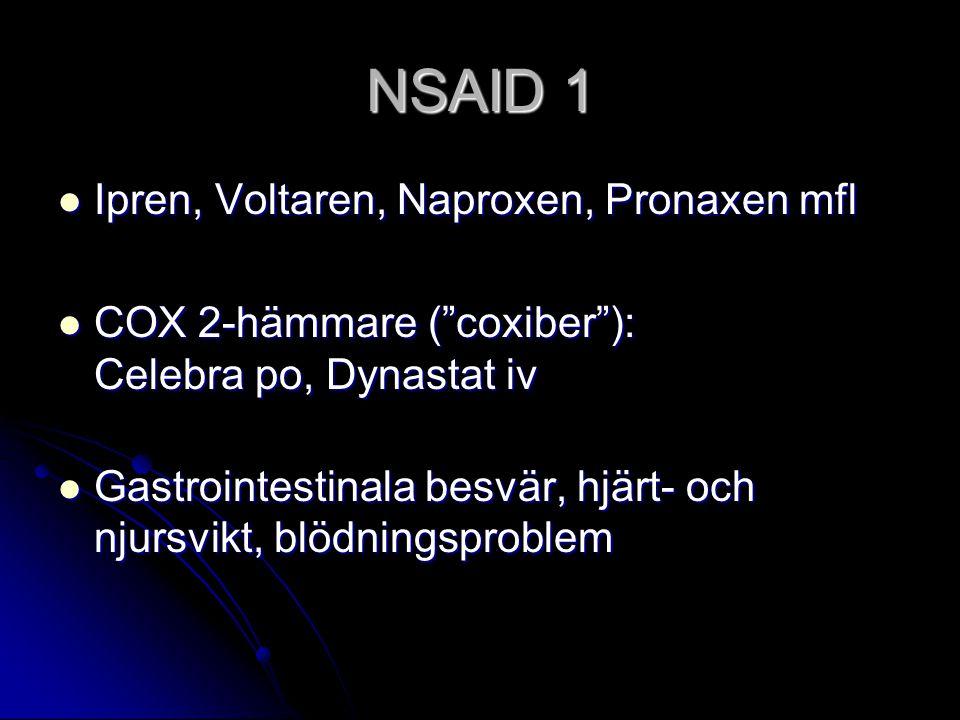 NSAID 1 Ipren, Voltaren, Naproxen, Pronaxen mfl Ipren, Voltaren, Naproxen, Pronaxen mfl COX 2-hämmare ( coxiber ): Celebra po, Dynastat iv COX 2-hämmare ( coxiber ): Celebra po, Dynastat iv Gastrointestinala besvär, hjärt- och njursvikt, blödningsproblem Gastrointestinala besvär, hjärt- och njursvikt, blödningsproblem