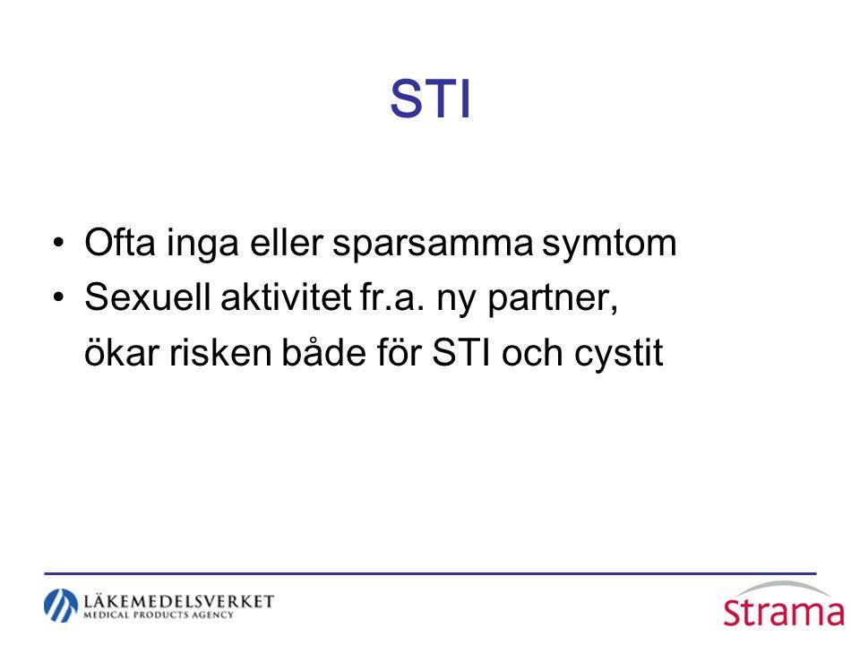STI Ofta inga eller sparsamma symtom Sexuell aktivitet fr.a. ny partner, ökar risken både för STI och cystit