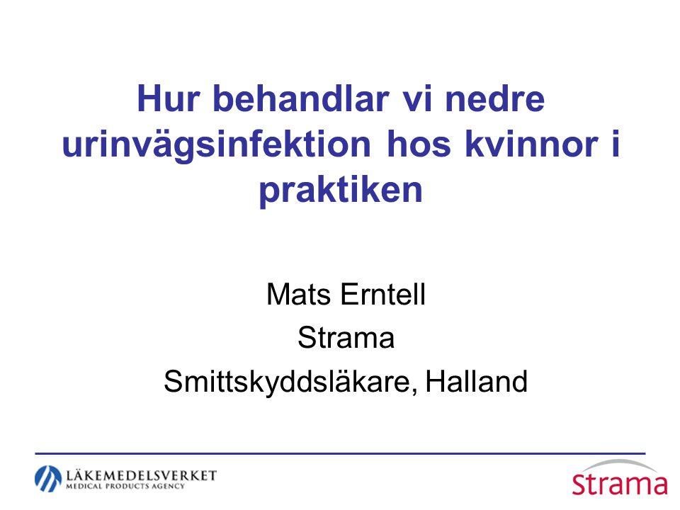 Hur behandlar vi nedre urinvägsinfektion hos kvinnor i praktiken Mats Erntell Strama Smittskyddsläkare, Halland