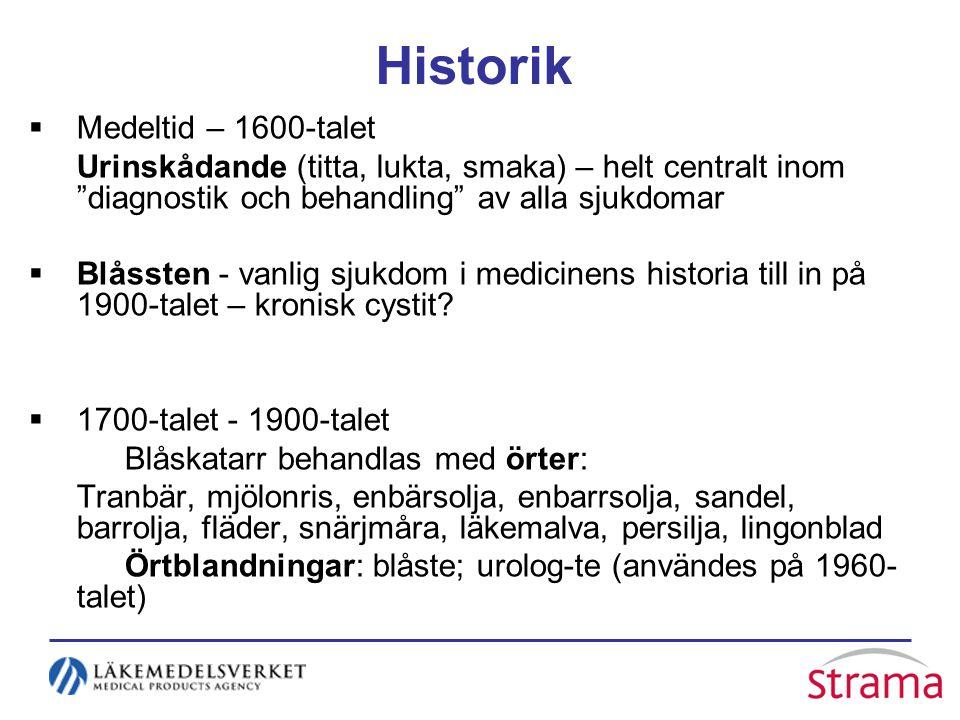 Historik  Medeltid – 1600-talet Urinskådande (titta, lukta, smaka) – helt centralt inom diagnostik och behandling av alla sjukdomar  Blåssten - vanlig sjukdom i medicinens historia till in på 1900-talet – kronisk cystit.