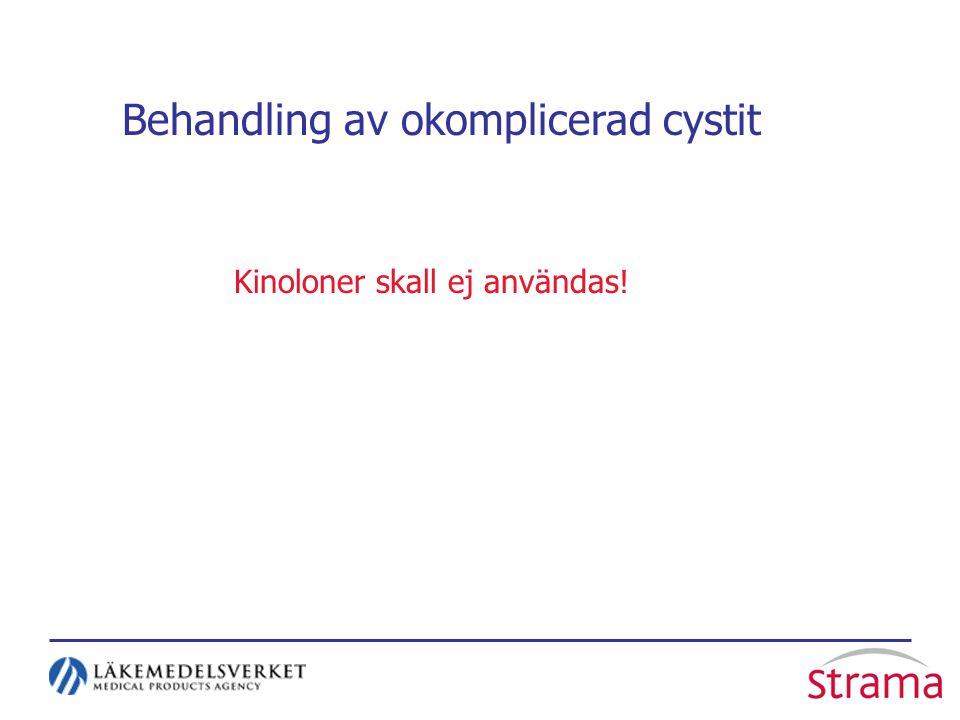 Behandling av okomplicerad cystit Kinoloner skall ej användas!