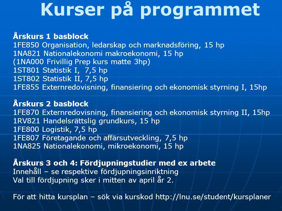 Kurser på programmet Årskurs 1 basblock 1FE850 Organisation, ledarskap och marknadsföring, 15 hp 1NA821 Nationalekonomi makroekonomi, 15 hp (1NA000 Fr