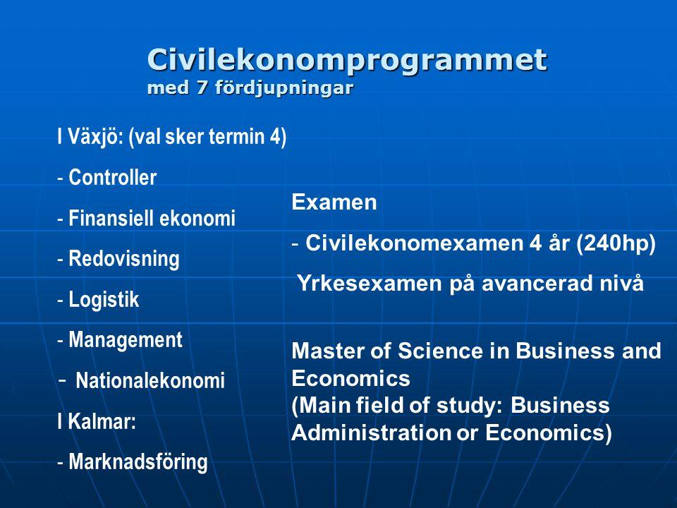 Civilekonomprogrammet med 7 fördjupningar I Växjö: (val sker termin 4) - Controller - Finansiell ekonomi - Redovisning - Logistik - Management - Natio