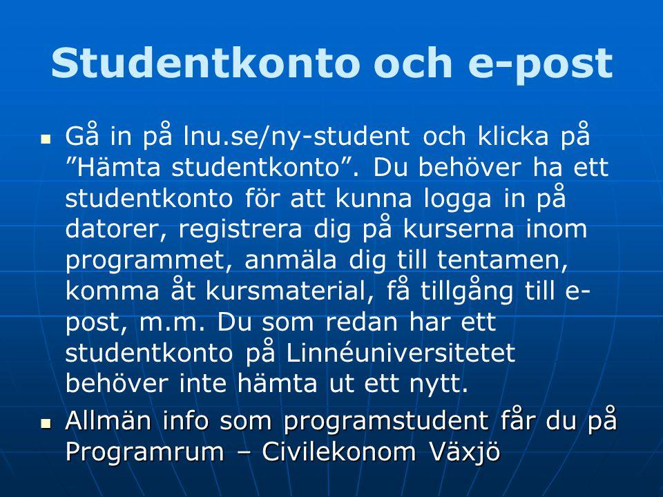 """Studentkonto och e-post Gå in på lnu.se/ny-student och klicka på """"Hämta studentkonto"""". Du behöver ha ett studentkonto för att kunna logga in på datore"""