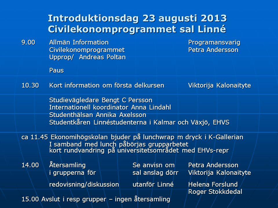Introduktionsdag 23 augusti 2013 Civilekonomprogrammet sal Linné 9.00Allmän Information Programansvarig Civilekonomprogrammet Petra Andersson Upprop/