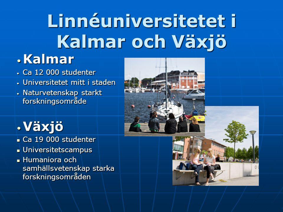 Linnéuniversitetet i Kalmar och Växjö Kalmar Kalmar Ca 12 000 studenter Ca 12 000 studenter Universitetet mitt i staden Universitetet mitt i staden Na