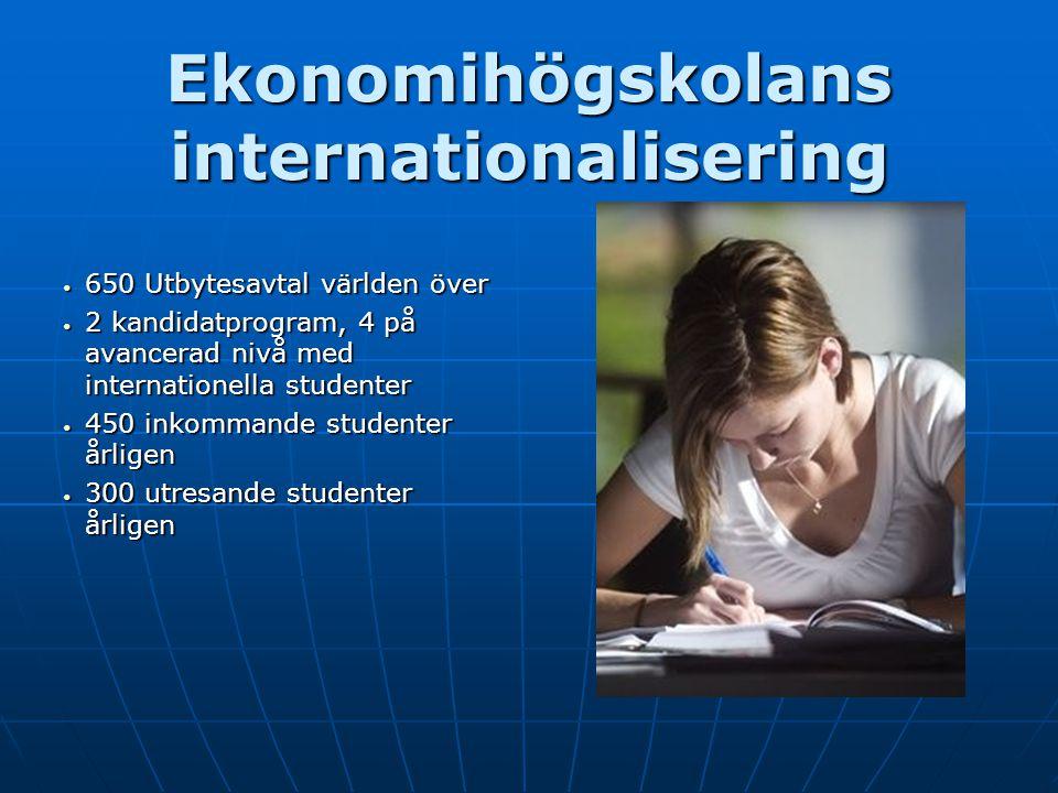 Ekonomihögskolans internationalisering 650 Utbytesavtal världen över 650 Utbytesavtal världen över 2 kandidatprogram, 4 på avancerad nivå med internat