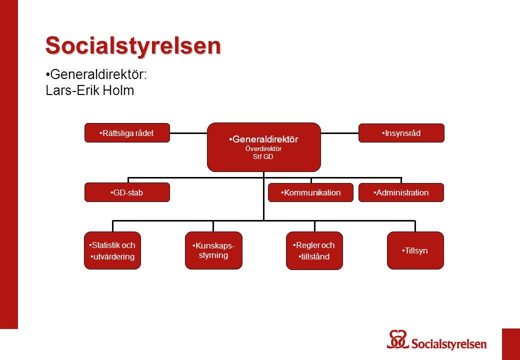 Socialstyrelsen Generaldirektör: Lars-Erik Holm Generaldirektör Överdirektör Stf GD GD-stab Kommunikation Regler och tillstånd Tillsyn Kunskaps- styrn