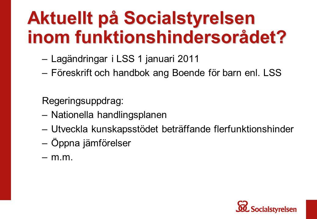 Aktuellt på Socialstyrelsen inom funktionshindersorådet? –Lagändringar i LSS 1 januari 2011 –Föreskrift och handbok ang Boende för barn enl. LSS Reger