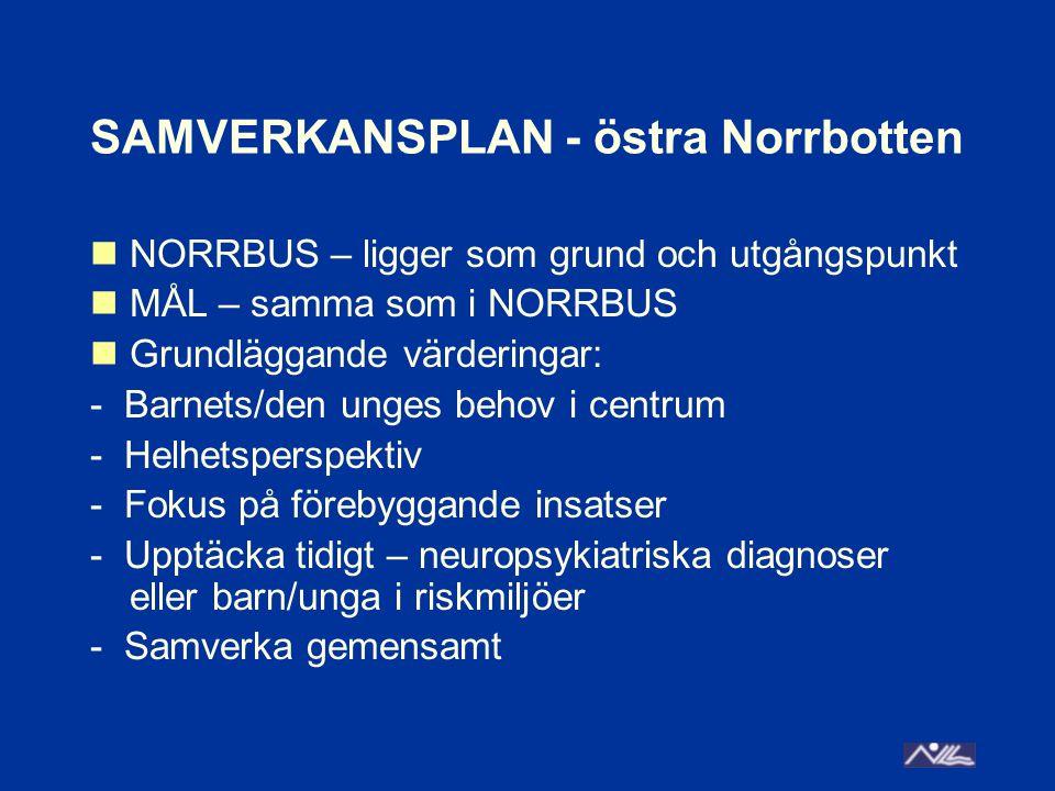 SAMVERKANSPLAN - östra Norrbotten NORRBUS – ligger som grund och utgångspunkt MÅL – samma som i NORRBUS Grundläggande värderingar: - Barnets/den unges behov i centrum - Helhetsperspektiv - Fokus på förebyggande insatser - Upptäcka tidigt – neuropsykiatriska diagnoser eller barn/unga i riskmiljöer - Samverka gemensamt
