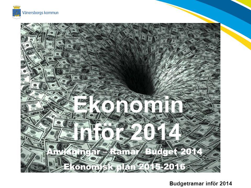 Budgetramar inför 2014 Ekonomin inför 2014 Anvisningar – Ramar Budget 2014 Ekonomisk plan 2015-2016