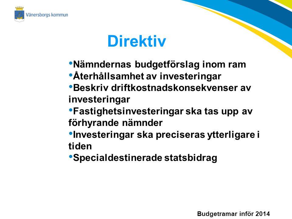 Budgetramar inför 2014 Direktiv Nämndernas budgetförslag inom ram Återhållsamhet av investeringar Beskriv driftkostnadskonsekvenser av investeringar Fastighetsinvesteringar ska tas upp av förhyrande nämnder Investeringar ska preciseras ytterligare i tiden Specialdestinerade statsbidrag